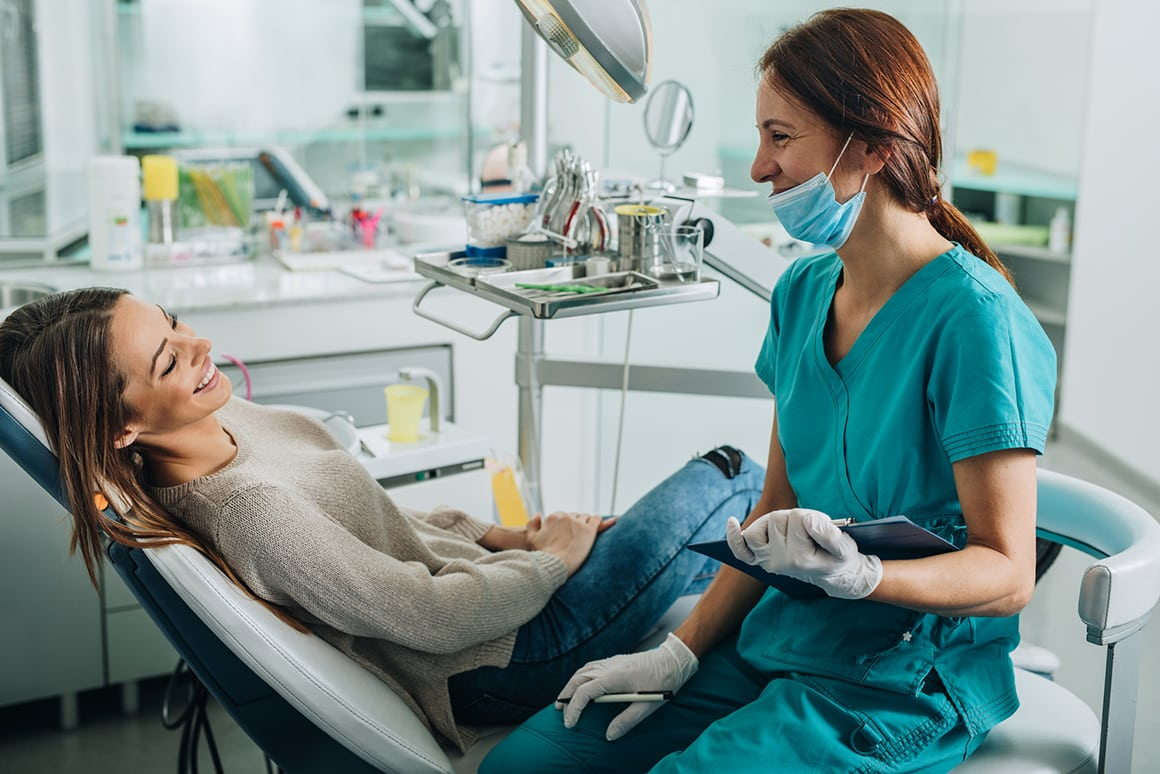 woman patient at the dentist